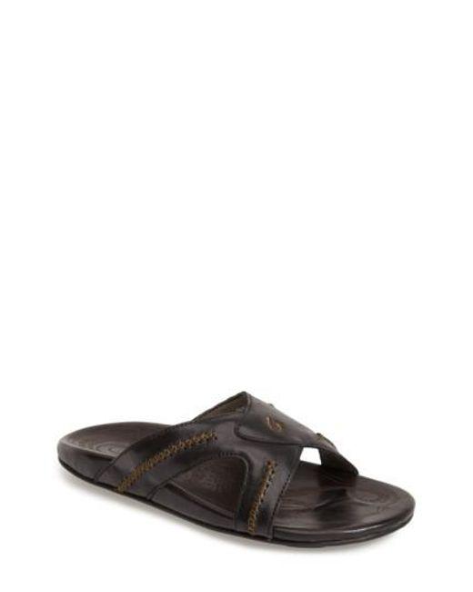 Olukai - Black 'mea Ola' Slide Sandal for Men - Lyst