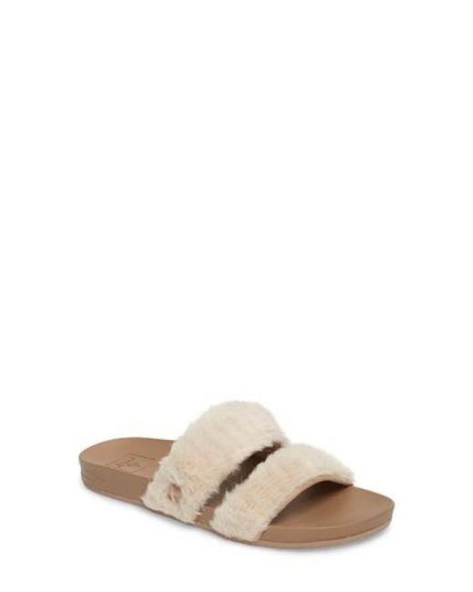 Reef   Natural Bounce Faux Fur Double Strap Slide Sandal   Lyst