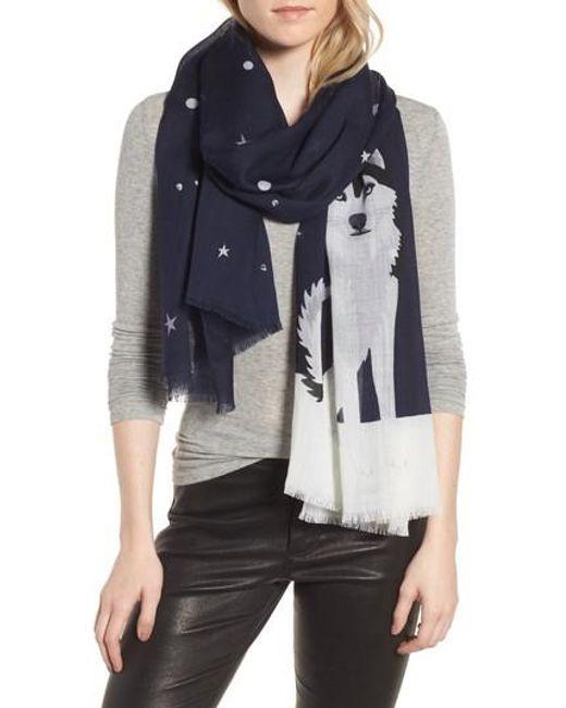 Kate Spade | Blue Husky Dog Oblong Wool Scarf | Lyst