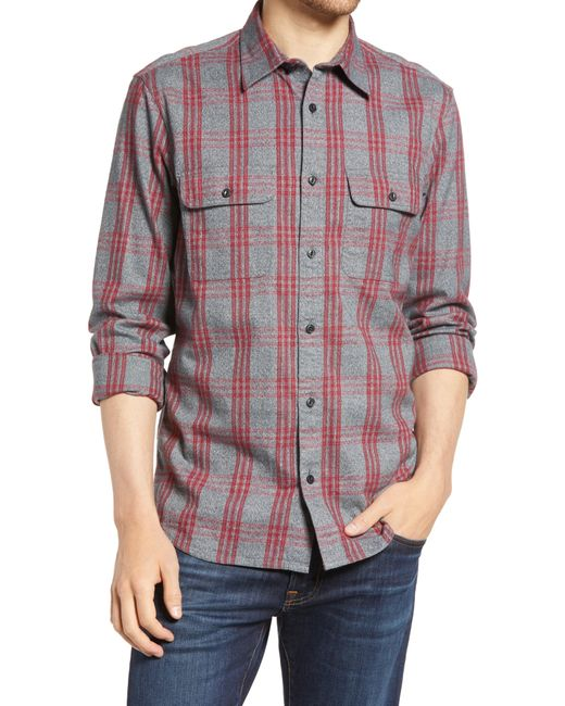 1901 Red Trim Fit Plaid Stretch Flannel Button-up Shirt for men