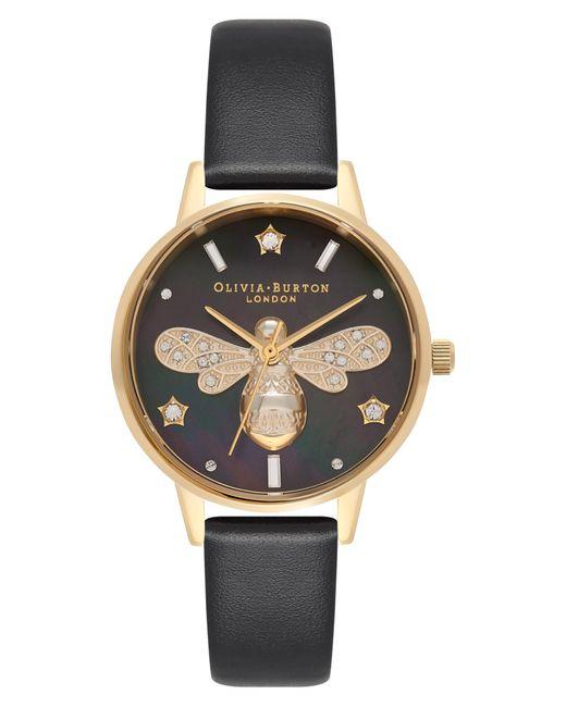 Olivia Burton Black Sparkle Bee Leather Strap Watch for men