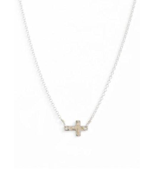 Nashelle | Metallic Side Cross Pendant Necklace | Lyst