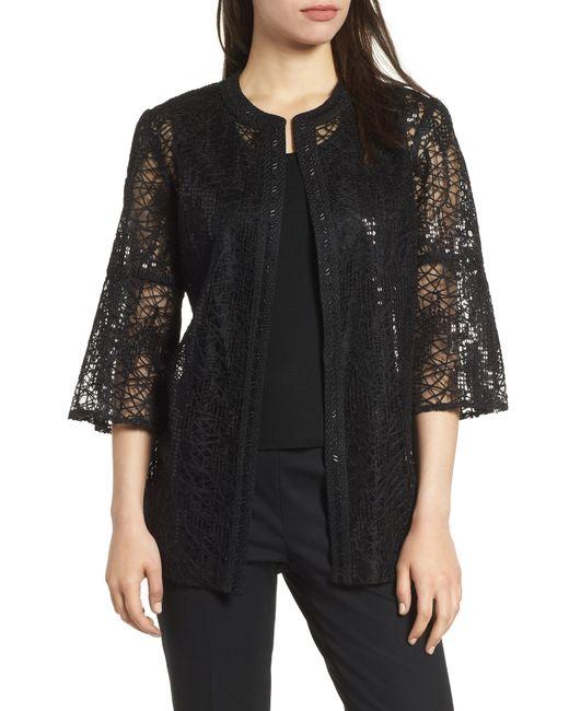 Ming Wang - Black Embellished Mesh Jacket - Lyst