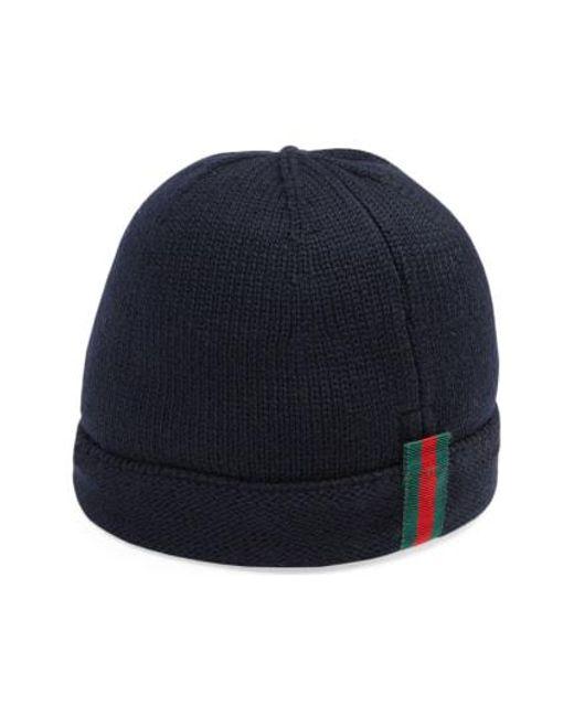Lyst - Gucci Wool Beanie in Blue for Men 14ba045038f9