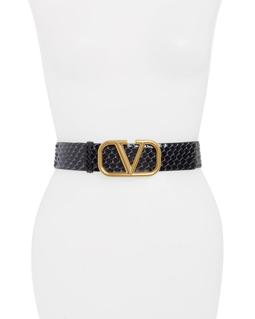 Valentino Garavani Black Genuine Python Belt