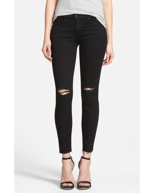 Mother - Black 'the Looker' Frayed Ankle Skinny Jeans - Lyst