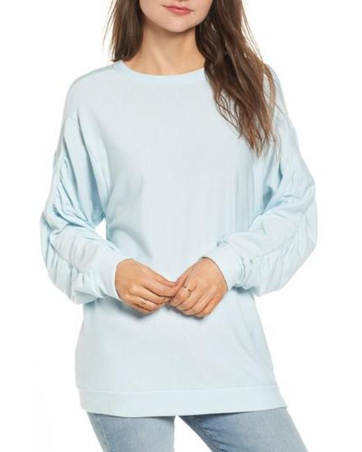 Project Social T   Blue Ruched Sleeve Sweatshirt   Lyst