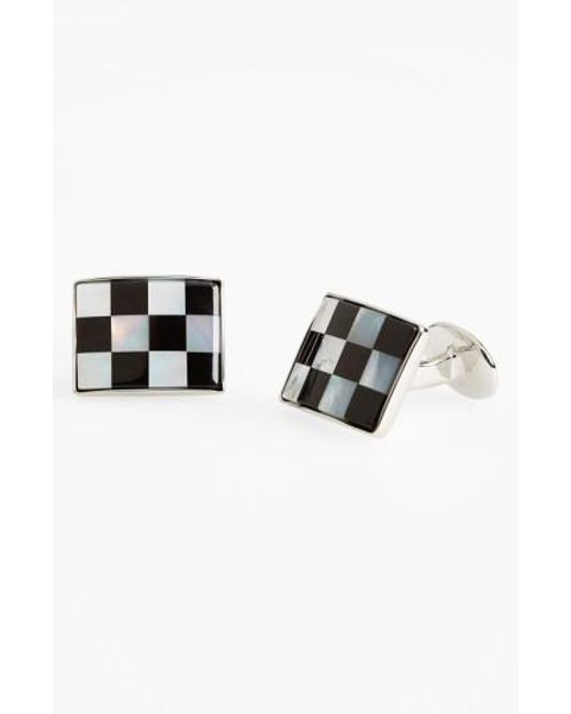 David Donahue | Metallic Checkerboard Cuff Links for Men | Lyst