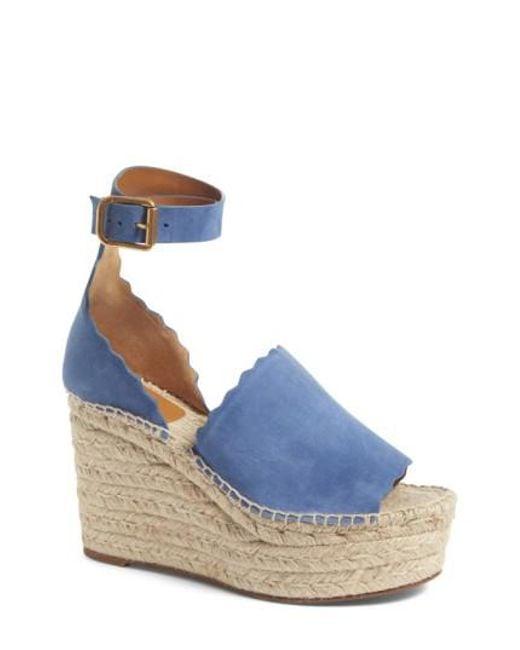 Chloé | Blue Lauren Espadrille Wedge Sandal | Lyst