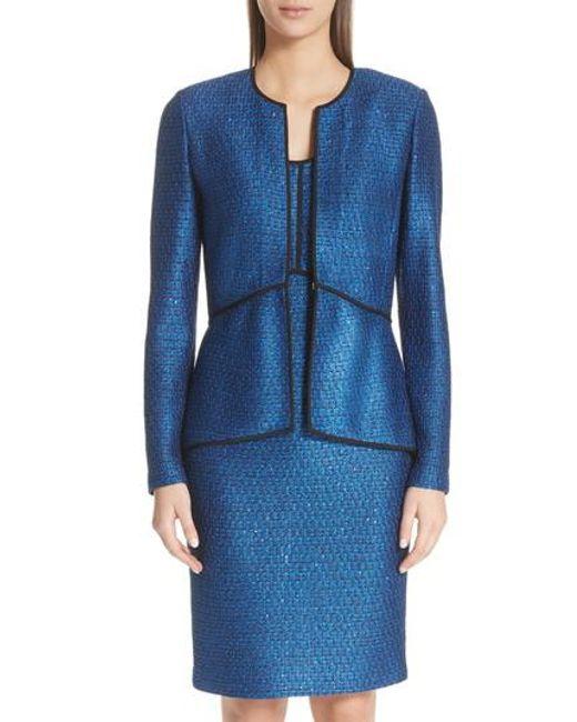 St. John - Blue Luster Sequin Knit Jacket - Lyst