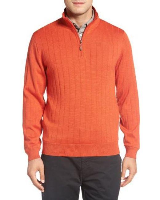 Bobby Jones - Black Windproof Merino Wool Quarter Zip Sweater for Men - Lyst