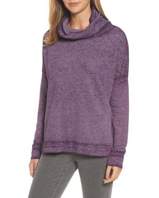 Caslon | Purple Caslon Burnout Back Pleat Sweatshirt | Lyst