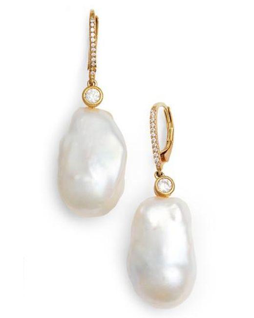Nina - White Baroque Pearl Earrings - Lyst