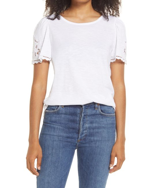 Caslon White Caslon Floral Embroidered T-shirt