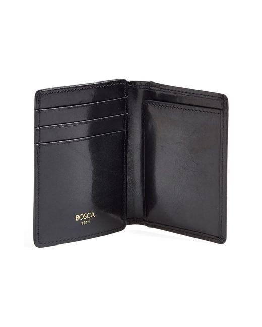 Bosca Black Old Leather Front Pocket Id Wallet for men