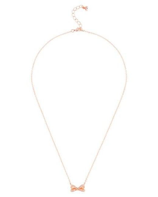 Ted Baker | Metallic Opulent Pave Bow Pendant Necklace | Lyst