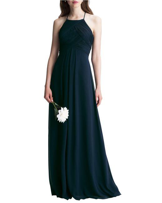Levkoff Blue Halter Chiffon A-line Gown