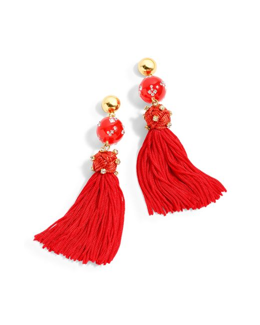 J.Crew - Red Crystal-studded Bead And Tassel Earrings - Lyst