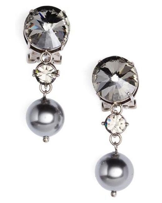Miu Miu | Gray Queen Jewels Classic Clip-on Earrings | Lyst