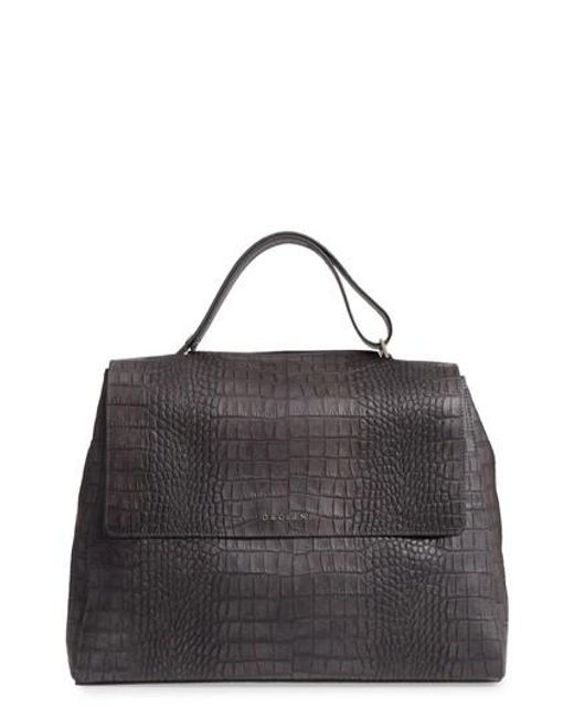 Orciani | Gray Large Sveva Croc Embossed Calfskin Leather Convertible Satchel | Lyst