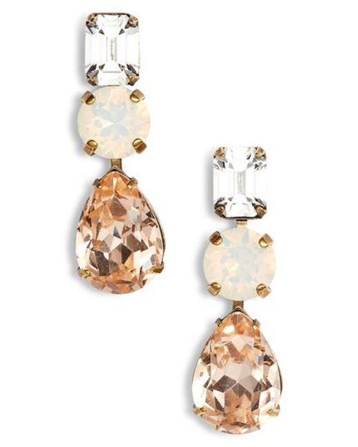 Sorrelli - Metallic Polished Pear Crystal Drop Earrings - Lyst