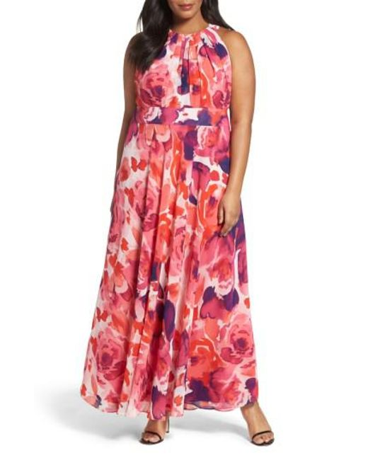 Eliza J - Pink Floral Print Halter Maxi Dress - Lyst
