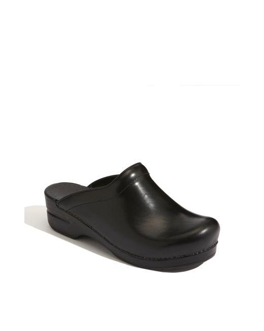Dansko Black 'sonja' Leather Clog