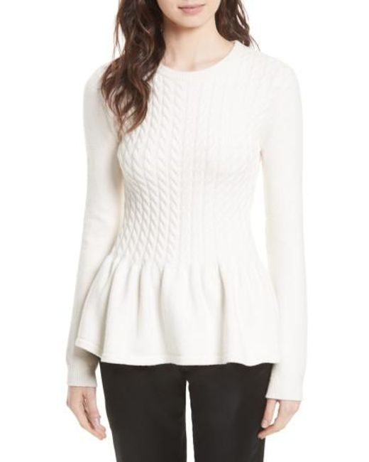 Ted Baker | Natural Mereda Cable Knit Peplum Sweater | Lyst