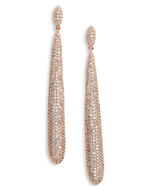 Nina - White Skinny Teardrop Pave Earrings - Lyst