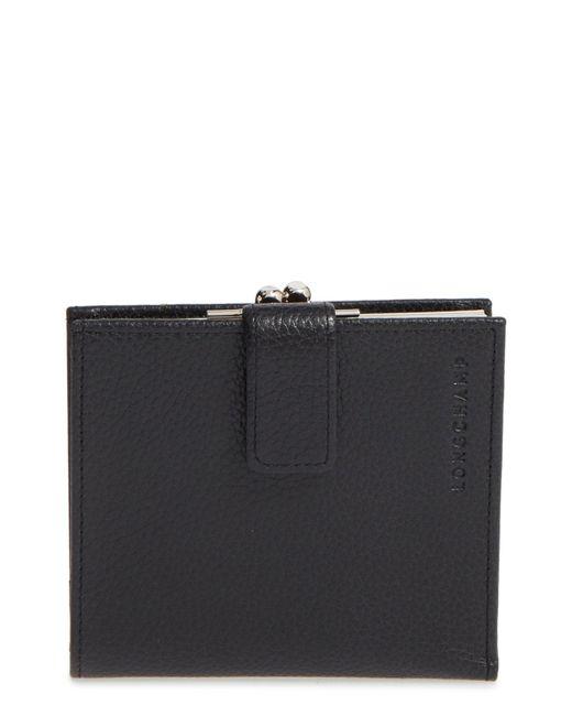 Longchamp - Black 'le Foulonne' Pebbled Leather Wallet - Lyst