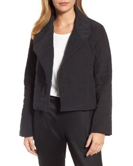 Eileen fisher Quilted Silk Crop Jacket in Black | Lyst : quilted silk - Adamdwight.com