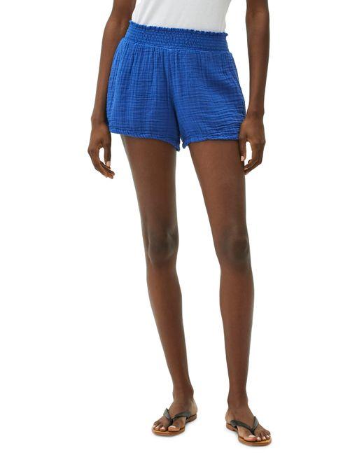Michael Stars Blue Peggy Smocked Waist Gauze Shorts