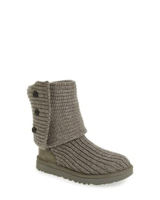 Ugg - Gray Ugg Classic Cardy Ii Knit Boot - Lyst