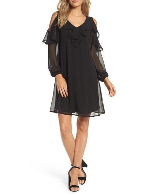 Taylor Dresses | Black Chiffon Cold Shoulder A-line Dress | Lyst