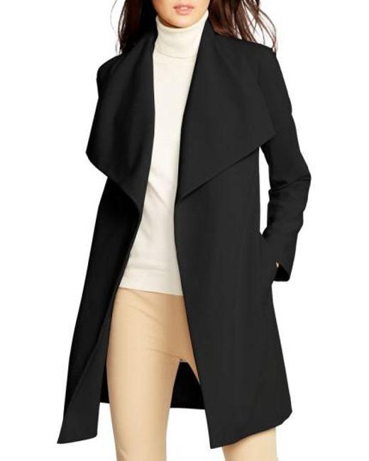 Lauren by Ralph Lauren | Black Belted Drape Front Coat | Lyst