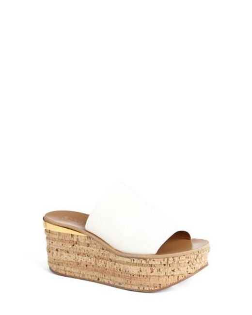 Chloé - White Camille Cork Platform Sandal - Lyst