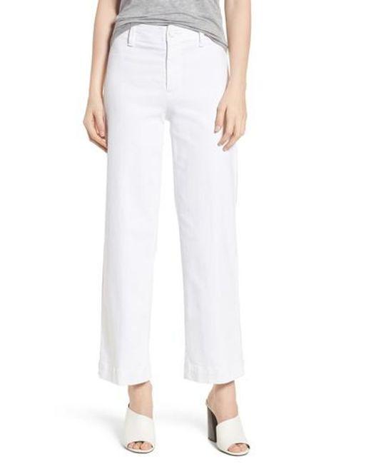 PAIGE - White Nellie Clean Front Culotte Jeans - Lyst
