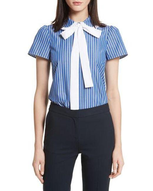 RED Valentino - Blue Tie Neck Stripe Cotton Poplin Top - Lyst