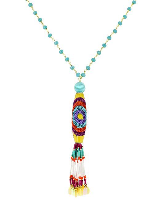 Panacea - Multicolor Crystal Multi Bead Tassel Necklace - Lyst