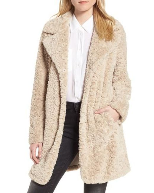 Kenneth Cole | Natural Faux Fur Coat | Lyst