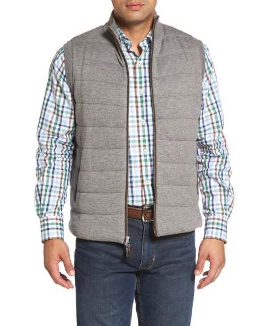 Peter Millar - Gray Quilted Wool & Cotton Full Zip Vest for Men - Lyst