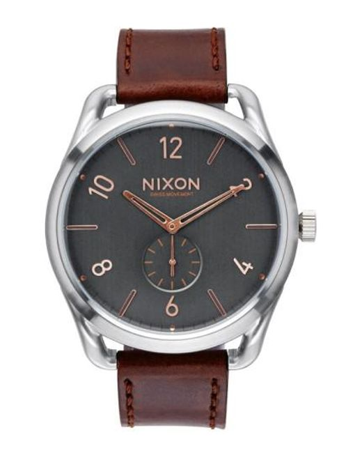 Nixon   Brown 'the C45' Leather Strap Watch for Men   Lyst