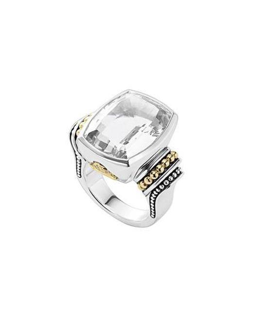 Lagos - White 'caviar Color' Large Semiprecious Stone Ring - Lyst