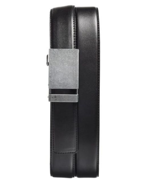 single men in iron belt Features:webbing with heathered edgematte black enamel clamp plaque buckle with cutout swoosh logo and enamel tip with swoosh logobottle opener on bac.