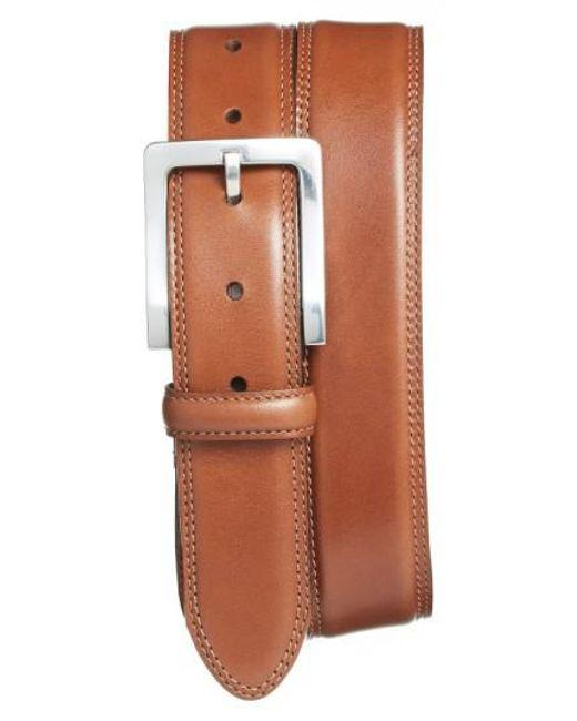 Bosca | Orange Double Stitch Leather Belt for Men | Lyst