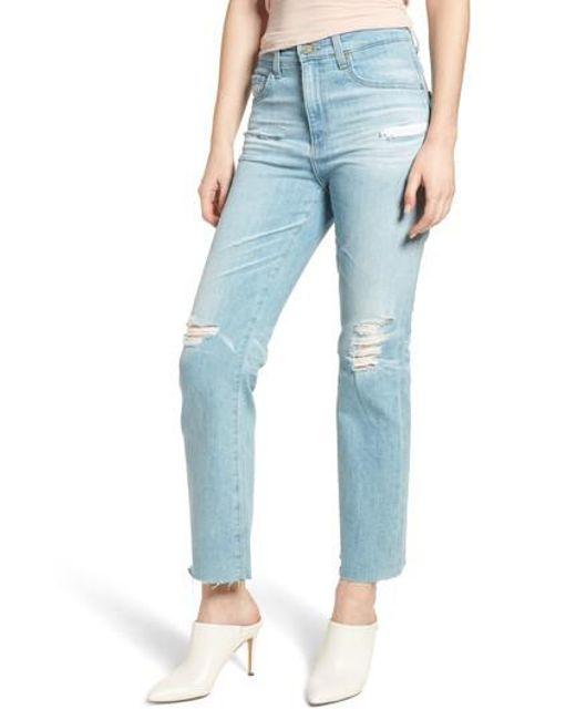 AG Jeans - Blue The Rhett High Waist Crop Boyfriend Jeans - Lyst