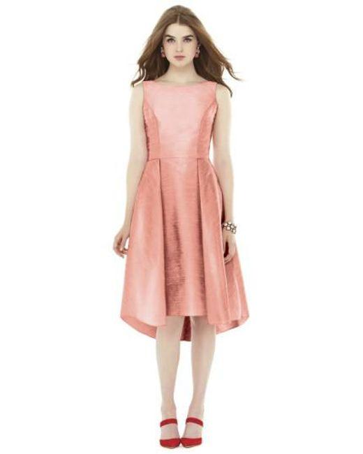 Alfred Sung | Orange Bow Back Dupioni Fit & Flare Midi Dress | Lyst