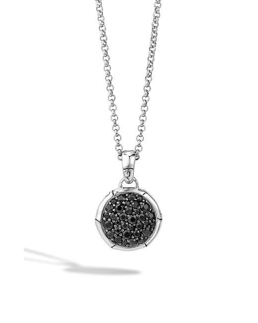 John Hardy Black 'bamboo' Small Round Pendant Necklace