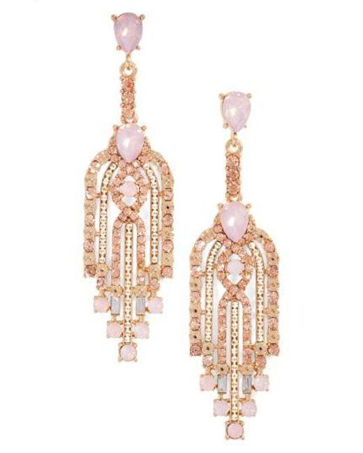 Adia Kibur | Pink Crystal Drop Earrings | Lyst
