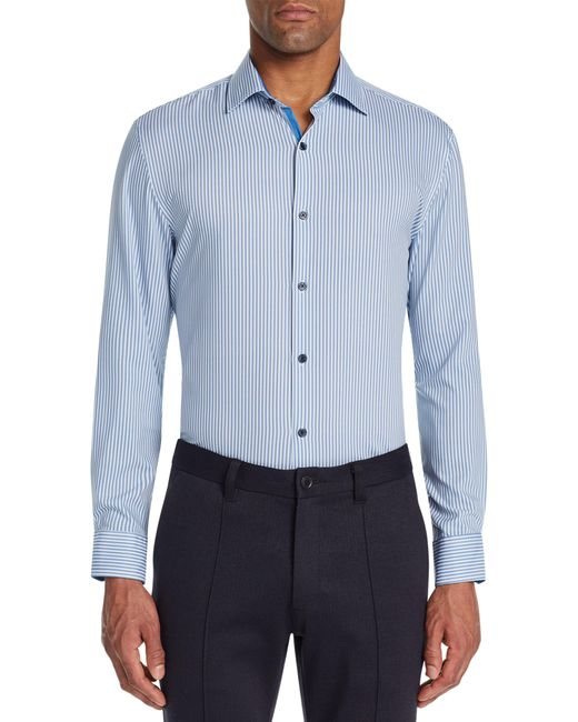 W.r.k. Blue Trim Fit Stretch Stripe Performance Dress Shirt for men
